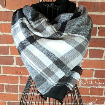 Oversized Perfect Plaid Blanket Scarf - Black