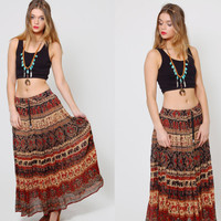 Vintage 90s INDIAN Maxi Skirt Long CRINKLE Skirt Boho Ethnic Festival Skirt Broom Skirt