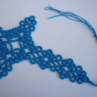 tatting lace bible bookmark in peacock blue