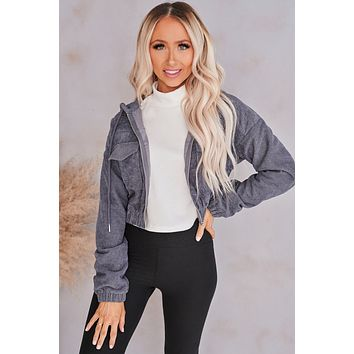 Going To The Game Corduroy Zipper Jacket (Charcoal)