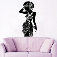 Africa Wall Decal Tribal African Woman Boho Vinyl Stickers Beauty Hair Salon Decor Fashion Art Mural Interior Design Living Room Decor KI120