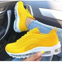 NIKE AIR MAX 97 Hot Sale Fashion Women Bullet Full Palm Cushion Sport Running Shoes Sneakers Yellow