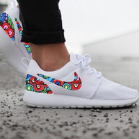 Nike Roshe Run Womens White with Custom Color Floral Print