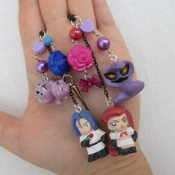 2x Pokémon Cell Phone Charms SET  - Team Rocket & Koffing and Arbok - HIS and HERS -  Pokemon phone charm