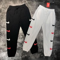 NIKE Women Men Side More Logo Hook Long Pants Leisure Trouser B-MG-FSSH Black/White