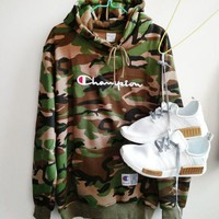 Champion Women Men Fashion letters embroidered drawstring hooded camouflage sweater G