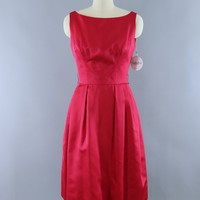 Vintage Red Satin Party Dress / The California Room