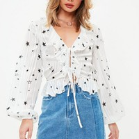 Missguided - White Ruffle Front Tie Tea Blouse