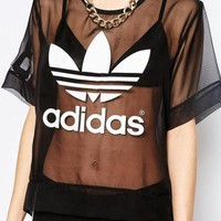 Adidas Women Fashion Woven Tunic Shirt Top Blouse