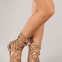 Breckelle Solo-04 Suede Cut Out Gladiator Flat Sandal