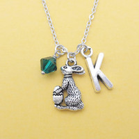 Personalized, Color, Birthstone, Personalized, Letter, Initial, Easter, Bunny, Rabbit, Necklace, Bunny, Birth, Stones, Birthday, Gift