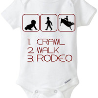 Crawl Walk Rodeo - New Baby Gift: Gerber Onesuit brand bodysuit - for a new mom or dad who loves to Rodeo / Cowboy - now in Preemie sizes!