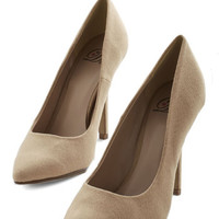 ModCloth Minimal Trend All, Be All Heel in Taupe