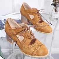 New large size single shoes laser carved breathable retro chunky heels for women