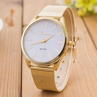 New Design 2015! Reloj Mujer Rhinestone Relogio Watches Women Quartz Dress Watch GENEVA Ladies Crystal Mesh Wrist Watch Gold