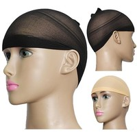 2Pcs Unisex Stocking Wig Liner Cap Nylon Stretch Breathable Mesh