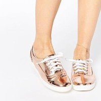 Lost | Lost Ink Sure Rose Gold Toe Cap Lace Up Plimsoll Trainers at ASOS