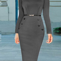 Gray Long Sleeve Bodycon Dress