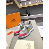 HERMES Men Fashion Boots fashionable Casual leather Breathable Sneakers Running Shoes0502xf