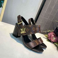 LV Louis Vuitton Sandals Shoes 75mm High Heel Coffee Leather Casual Women Slippers