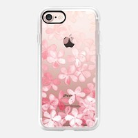 Spring Blossoms - pastel pink & cream floral painted pattern on transparent iPhone 7 Case by Micklyn Le Feuvre | Casetify