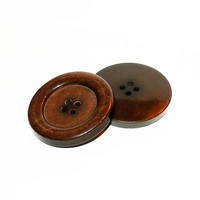 Buttons, 2 Large Plastic Buttons, Plastic 4 Hole Coat Buttons, Vintage Buttons, Sewing Buttons, Craft Supply