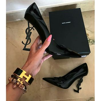 YSL Shoes  Yves Saint laurent YSL new sexy new ladies pointed toe high heels Black