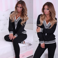 V-Neck Stripe Long-Sleeve Shirt With Paired Pants
