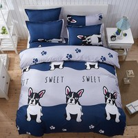 Cute cartoon dog scenery love English Japan 4pcs/3pcs Duvet Cover Sets Soft Polyester Bed Linen Flat Bed Sheet Set Pillowcase