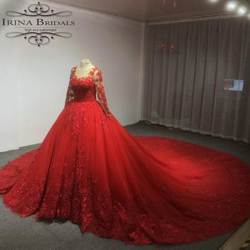 Irina Bridals Real Photos High Quality Lace Appliques Luxury Red Wedding Dress 2019
