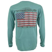 Duck Call Flag Long Sleeve Tee Shirt in Light Green by Southern Fried Cotton