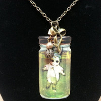 Zombie, Baby in a Jar, Laser Cut Wood, Charm, Necklace