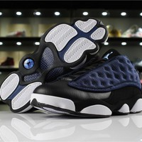 "Hot Air Jordan 13 Low ""Navy"" AJ13 Men Shoes Suede Blue"