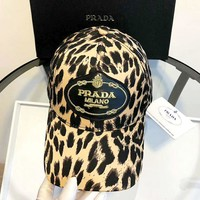 PRADA Tide brand personality female leopard letter embroidery duck tongue baseball cap
