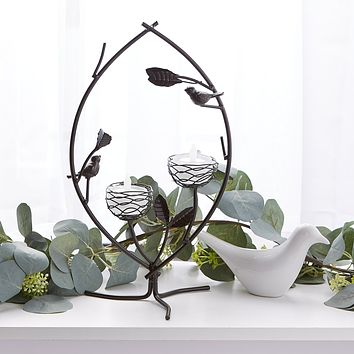 Birds and Branches in Harmony Double Tealight Candle Holder