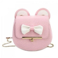 Cute Color Block and Bow Design Crossbody Bag For Women