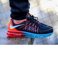 Tagre™ NIKE Trending AirMax Behind the hook section rainbow knited line Fashion Casual Sports Shoes Black white hook (blue red s