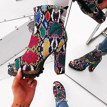 Fashion Women Colorful Snake Textur Boots Sandals Fish mouth Shoes green red blue grey