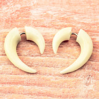 Fake Gauge Earrings White Bone Mini Hook Talon Tribal Earrings - Gauges Plugs Bone - FG062 B ALL