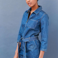 BDG Denim Zip-Front Coverall Romper - Urban Outfitters