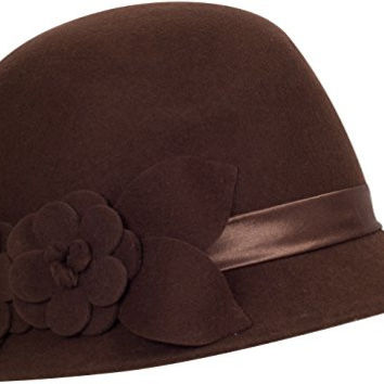 Sakkas 0941LC Vintage Style 100% Wool Cloche Bell Hat with Flower Accent - Brown/One Size