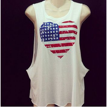 New fashion heart-shaped flag printed round neck sleeveless T-shirt for ladies