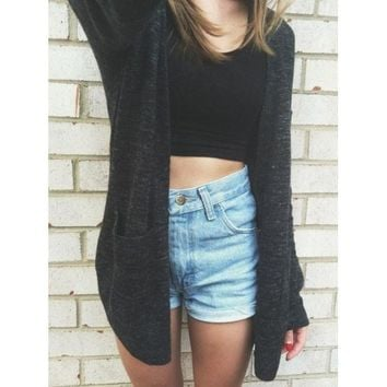 Fashion Pocket Knit Loose Cardigan Jacket Coat