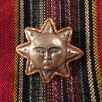 Vintage Moon Sun Star Brooch Silvertone Goldtone Stamped Pin