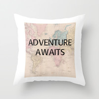 Adventure Awaits Map Print Throw Pillow by Livin' Freely | Society6