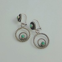 Old Pawn Antique Native American Turquoise EARRINGS Navajo Sterling Silver HOOP Earrings Drops Original EARWIRES Pierced Ears, Gift for Her