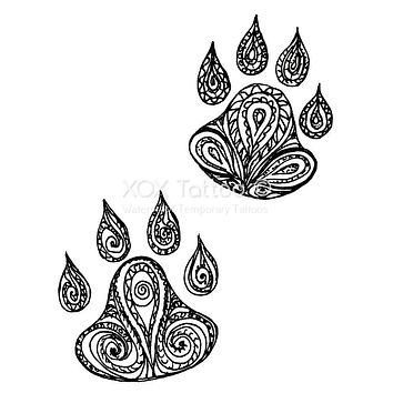 Paisley Paw Prints Waterproof Temporary Tattoos Lasts 3 to 4 days Choose Small, Medium or Large Sizes