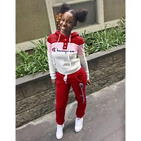 Champion Popular Women Casual Sport Stitching Color Hoodie Two Piece Suit Red