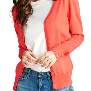 TheLovely Women Long Sleeve V-Neck Classic Sweater Cardigan