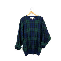 Preppy Plaid Sweater 90s Blue Green Boyfriend Pullover 1990s Fall Crewneck Sweater Prep School Slouchy Vintage Sweater Hipster Size Large